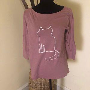 LOFT 3/4 cat outline pink shirt